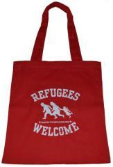 """Zur Baumwoll-Tragetasche """"Refugees welcome (rot, weißer Druck)"""" für 4,00 € gehen."""