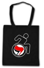 """Zur Baumwoll-Tragetasche """"RollifahrerIn Antifaschistische Aktion (rot/schwarz)"""" für 4,00 € gehen."""