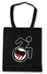 """Zur Baumwoll-Tragetasche """"RollifahrerIn Antifaschistische Aktion (schwarz/rot)"""" für 4,00 € gehen."""