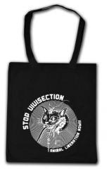 """Zur Baumwoll-Tragetasche """"Stop Vivisection! Animal Liberation Now!!!"""" für 4,00 € gehen."""