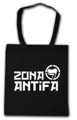 """Zur Baumwoll-Tragetasche """"Zona Antifa"""" für 3,90 € gehen."""