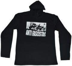 """Zum Kapuzen-Longsleeve """"Antifascistas"""" für 18,00 € gehen."""