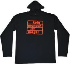 """Zum Kapuzen-Longsleeve """"kein mensch ist illegal"""" für 18,00 € gehen."""