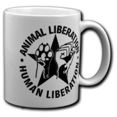 """Zur Tasse """"Animal Liberation - Human Liberation (mit Stern)"""" für 9,75 € gehen."""