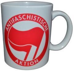 """Zur Tasse """"Antifaschistische Aktion (rot/rot)"""" für 10,00 € gehen."""