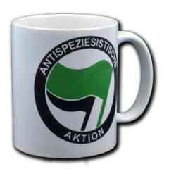 """Zur Tasse """"Antispeziesistische Aktion (grün/schwarz)"""" für 10,00 € gehen."""