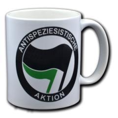 """Zur Tasse """"Antispeziesistische Aktion (schwarz/grün)"""" für 10,00 € gehen."""