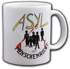 """Zur Tasse """"Asyl ist Menschenrecht"""" für 10,00 € gehen."""