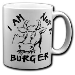 """Zur Tasse """"I am not a burger"""" für 10,00 € gehen."""