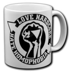 """Zur Tasse """"Love Hardcore - Hate Homophobia"""" für 10,00 € gehen."""