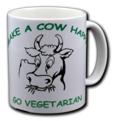 """Zur Tasse """"Make a Cow happy - Go Vegetarian"""" für 10,00 € gehen."""