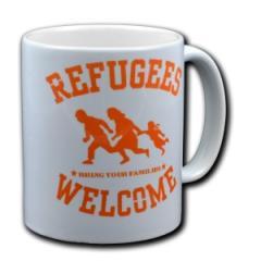 """Zur Tasse """"Refugees welcome"""" für 10,00 € gehen."""