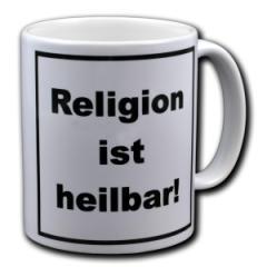 """Zur Tasse """"Religion ist heilbar!"""" für 9,75 € gehen."""