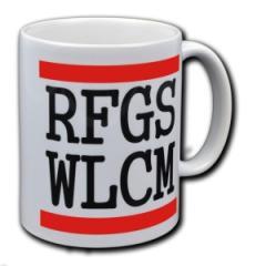 """Zur Tasse """"RFGS WLCM"""" für 10,00 € gehen."""