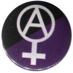 """Zum 25mm Magnet-Button """"Anarcho-Feminismus (schwarz/lila)"""" für 1,95 € gehen."""