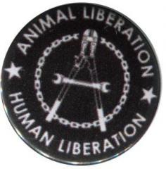 """Zum 25mm Magnet-Button """"Animal Liberation - Human Liberation (Zange)"""" für 2,00 € gehen."""