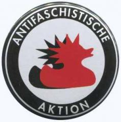 """Zum 25mm Magnet-Button """"Antifaschistische Aktion (Enten)"""" für 2,00 € gehen."""