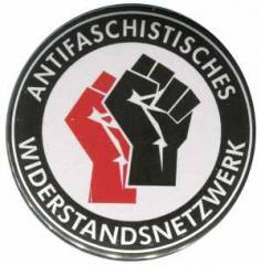 """Zum 25mm Magnet-Button """"Antifaschistisches Widerstandsnetzwerk - Fäuste (rot/schwarz)"""" für 2,20 € gehen."""
