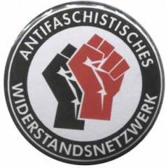 """Zum 25mm Magnet-Button """"Antifaschistisches Widerstandsnetzwerk - Fäuste (schwarz/rot)"""" für 2,20 € gehen."""
