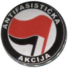 """Zum 25mm Magnet-Button """"Antifasisticka Akcija (rot/schwarz)"""" für 2,00 € gehen."""