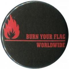 """Zum 25mm Magnet-Button """"Burn your flag - worldwide (red)"""" für 2,00 € gehen."""