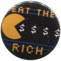 """Zum 25mm Magnet-Button """"eat the rich"""" für 1,95 € gehen."""