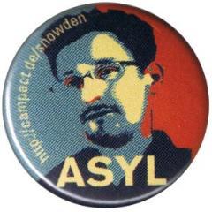 """Zum 25mm Magnet-Button """"Edward Snowden ASYL"""" für 2,00 € gehen."""