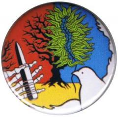 """Zum 25mm Magnet-Button """"Frieden versus Uranwaffen"""" für 2,00 € gehen."""