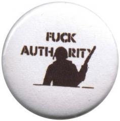 """Zum 25mm Magnet-Button """"Fuck authority"""" für 1,95 € gehen."""
