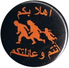 """Zum 25mm Magnet-Button """"Refugees welcome (arabisch)"""" für 2,00 € gehen."""