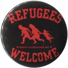 """Zum 25mm Magnet-Button """"Refugees welcome (rot)"""" für 2,00 € gehen."""