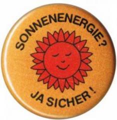 """Zum 25mm Magnet-Button """"Sonnenenergie? Ja sicher!"""" für 2,00 € gehen."""