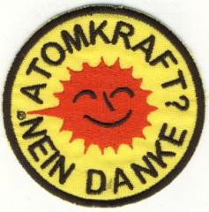 """Zum Aufnäher """"Atomkraft? Nein Danke"""" für 3,00 € gehen."""