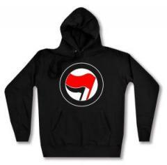 """Zum taillierter Kapuzen-Pullover """"Antifa Logo (rot/schwarz, ohne Schrift)"""" für 28,00 € gehen."""