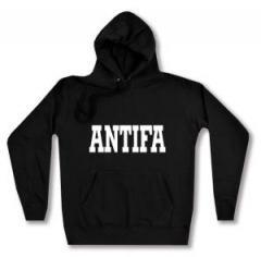 """Zum taillierter Kapuzen-Pullover """"Antifa Schriftzug"""" für 28,00 € gehen."""