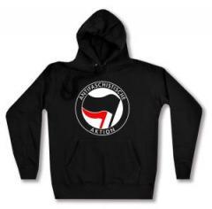 """Zum taillierter Kapuzen-Pullover """"Antifaschistische Aktion (schwarz/rot)"""" für 27,29 € gehen."""
