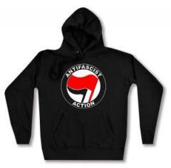 """Zum taillierter Kapuzen-Pullover """"Antifascist Action (rot/schwarz)"""" für 27,29 € gehen."""