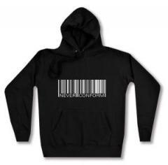"""Zum taillierter Kapuzen-Pullover """"Barcode - Never conform"""" für 27,29 € gehen."""