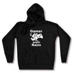 """Zum taillierter Kapuzen-Pullover """"Gamer gegen Nazis"""" für 27,29 € gehen."""