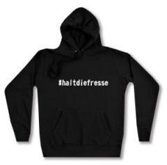 """Zum taillierter Kapuzen-Pullover """"#haltdiefresse"""" für 26,32 € gehen."""