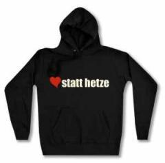 """Zum taillierter Kapuzen-Pullover """"herz statt hetze"""" für 27,29 € gehen."""
