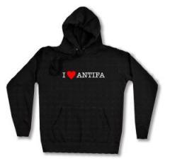 """Zum taillierter Kapuzen-Pullover """"I love Antifa"""" für 27,29 € gehen."""
