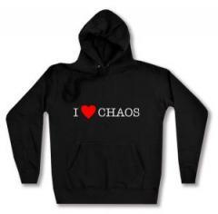 """Zum taillierter Kapuzen-Pullover """"I love Chaos"""" für 27,29 € gehen."""