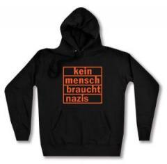 """Zum taillierter Kapuzen-Pullover """"kein mensch braucht nazis (orange)"""" für 28,00 € gehen."""