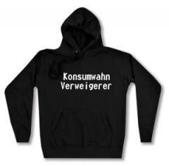 """Zum taillierter Kapuzen-Pullover """"Konsumwahn Verweigerer"""" für 28,00 € gehen."""