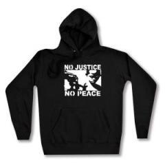 """Zum taillierter Kapuzen-Pullover """"No Justice - No Peace"""" für 28,00 € gehen."""