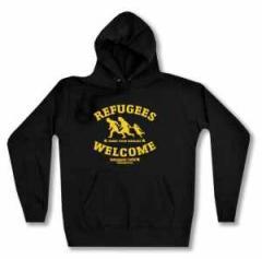 """Zum Woman Kapuzen-Pullover """"Refugees welcome Linksjugend"""" für 30,00 € gehen."""