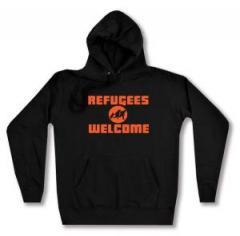 """Zum taillierter Kapuzen-Pullover """"Refugees welcome (Quer)"""" für 28,00 € gehen."""