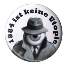 """Zum 37mm Button """"1984 ist keine Utopie"""" für 1,00 € gehen."""