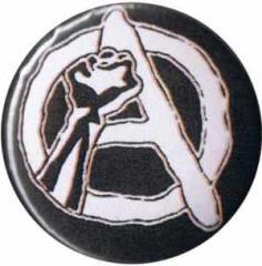 """Zum 37mm Button """"Anarchie Faust (weiß/schwarz)"""" für 1,00 € gehen."""